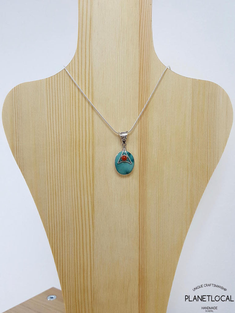 TORQUOISE DUET- Handmade 925 Sterling Silver Pendant - PLANETLOCAL