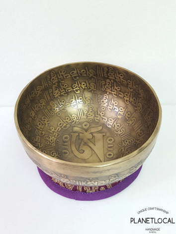 15cm MANTRAS Full Compassion mantras etched Singing Bowl