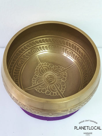 Compassion Mantra + Double Vajra Etched Singing Bowl