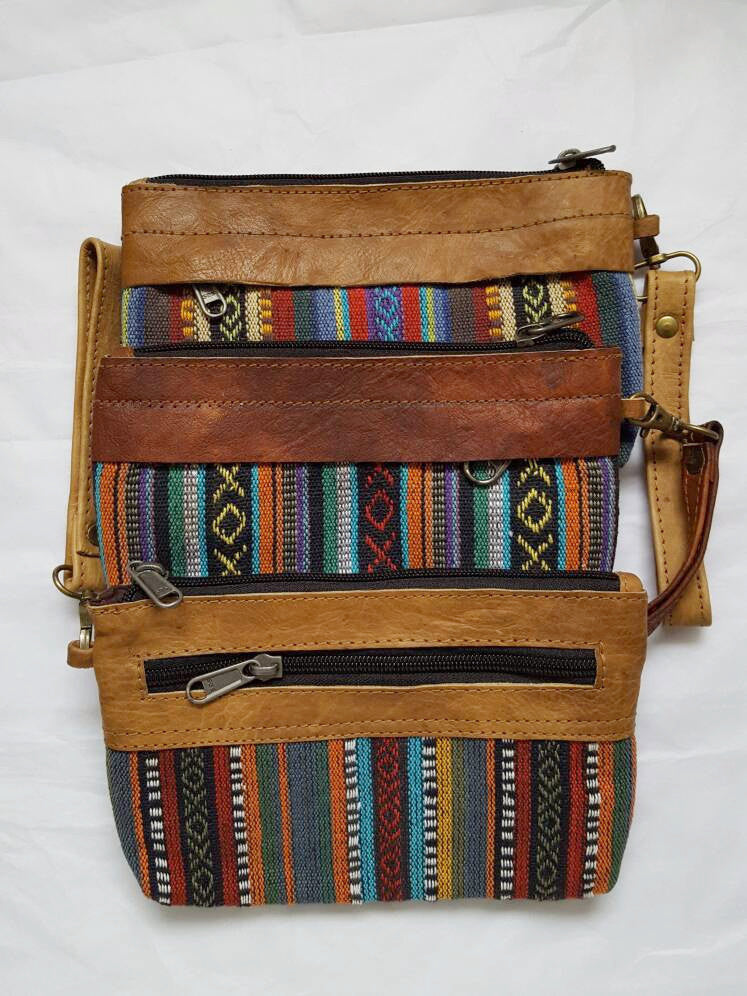 Pure Handmade Ethnic clutch bag made with cotton fabric and Leather handbag - PLANETLOCAL