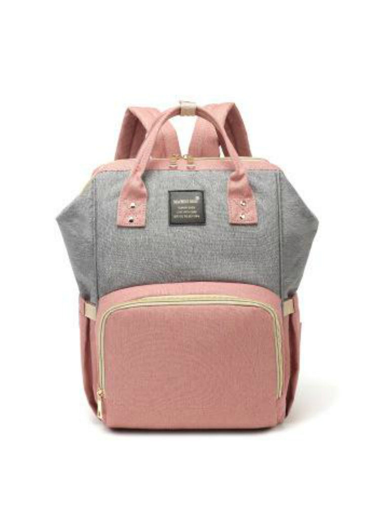 Backpack Nappy Bag | Grey & Pink