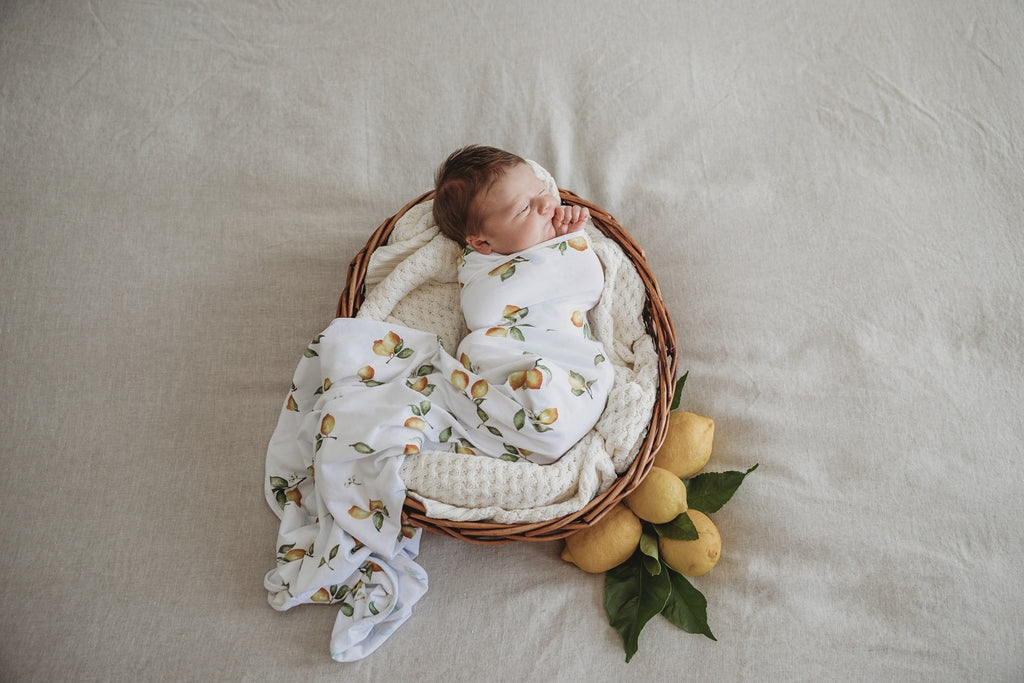 Baby Jersey wrap & Beanie Set | Lemon