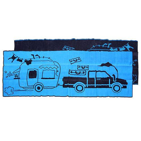 RETRO CARAVAN Aboriginal Design Recycled Plastic Mat, Blue & Black 2.4 x 6m