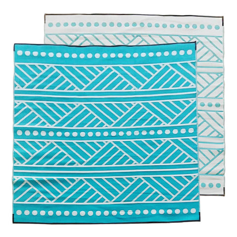 HIGH TIDE Recycled Plastic Outdoor Mat / Rug, Turquoise & Grey 3x3m