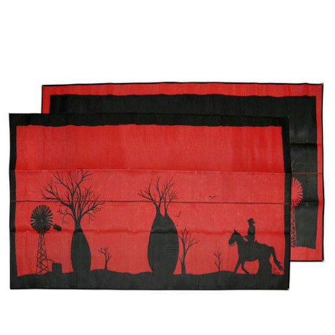 Recycled Outdoor Mat - BOAB TREE Australia Design Recycled Mat, Red & Black 2.4 x 4m - Floorsome