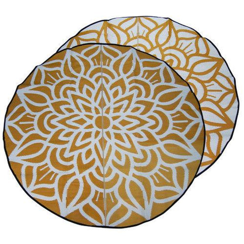 ANCESTRAL CONNECTEDNESS Mandala Design Recycled Plastic Mat, Orange & White 2.4m Diameter - Floorsome