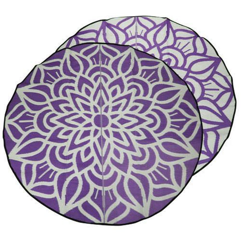 ANCESTRAL CONNECTEDNESS Mandala Design Recycled Plastic Mat, Violet & White 2.4m Diameter - Floorsome