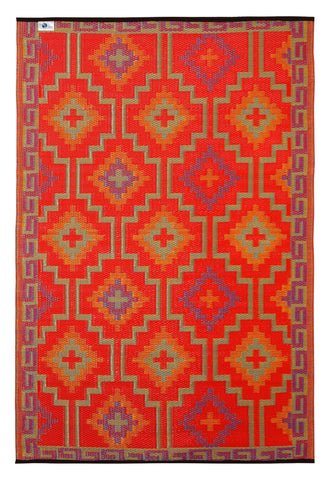 Lhasa Recycled Plastic Outdoor Rug Orange and Violet - Floorsome