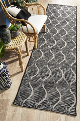 Courtyard 5501 Black Indoor Outdoor Runner Rug