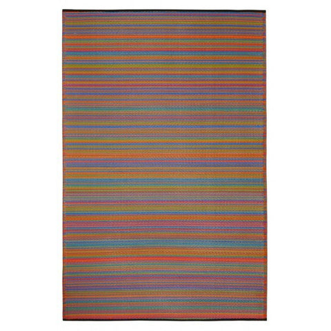 Recycled plastic outdoor rug multicolour