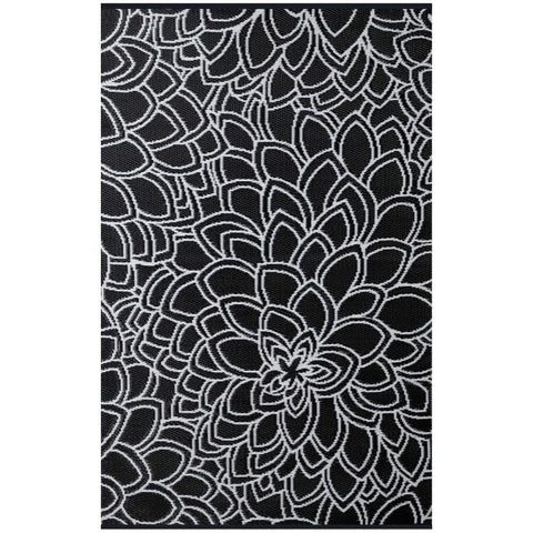 Recycled plastic outdoor rug Eden black and white