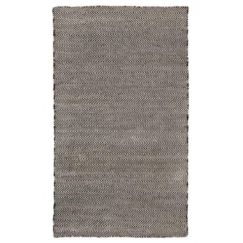 Indoor Outdoor Recycled Plastic PET Polypropylene Rug Herringbone Black