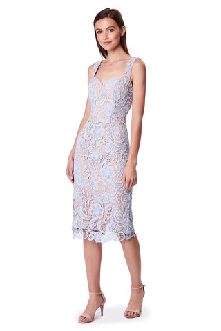 Olivia All Over Lace Midi Dress with Sweetheart Neckline