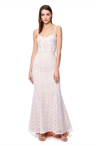 Polly All Over Lace Maxi Dress with a Basque Top
