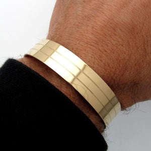 Wide Mens Bracelet Gold Line
