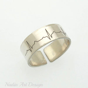 Heart beat silver ring