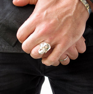 Sterling Silver Skull Signet Ring