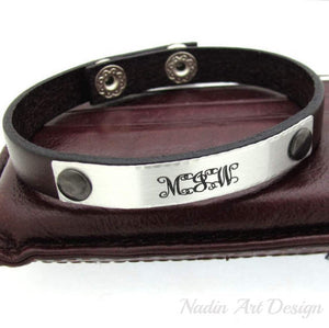 Monogram engraved ID leather cuff