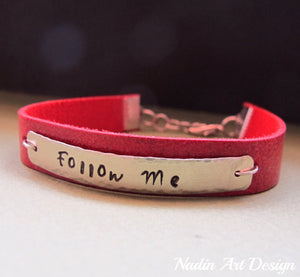 Red leather name bracelet