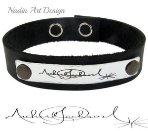 Hand writing engraving leather band