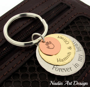Engraved discs keychain