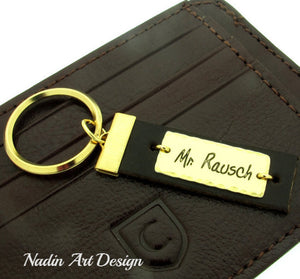 Message engraved custom leather keychain