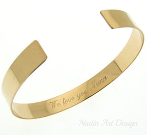 Quote engraved gold cuff