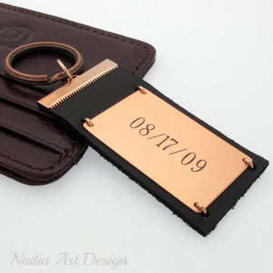 Personalized leather metal keychain