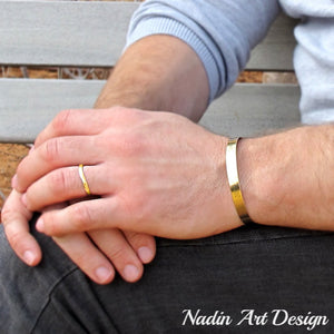 Classic gold id bracelet for men - Gold Filled Cuff - Mens gold bracelets