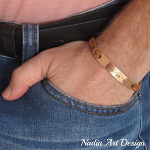 Leather cords engraved mens cuff