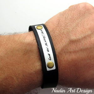Leather Cuff with Handwriting Engraving