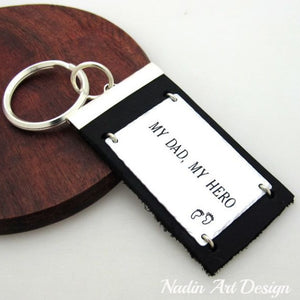 Leather and metal engraved keychain
