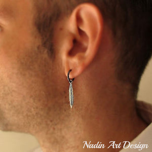 Single Feather Pendant Earring for Men