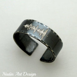 Black band ring with soundwave engraving - voice recording ring