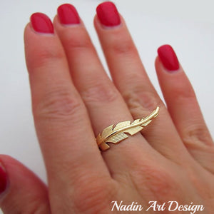14K Gold Filled Gold Feather Ring, Unique Ring, Boho chic ring