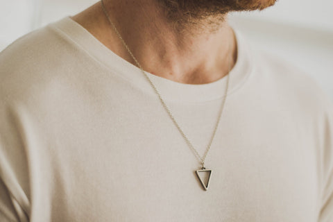 Silver triangle necklace for men, stainless steel chain necklace