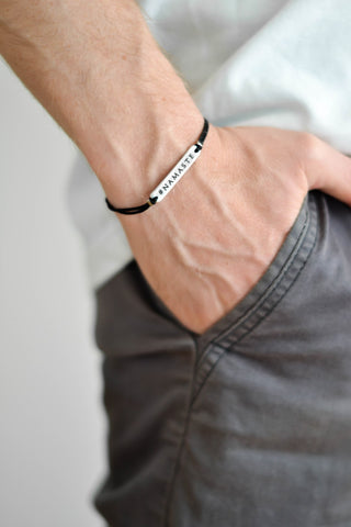 Silver Namaste charm bracelet for men, black cord, gift for him