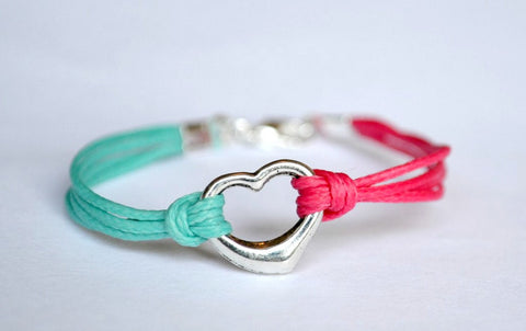 Heart friendship bracelet for children, pink and turquoise cord Bracelet with Tibetan silver heart charm, two colors bracelet for kids, teal