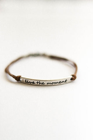 Silver 'Live the moment'' bracelet for men, brown cord, gift for him