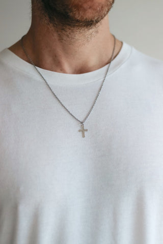 Silver cross necklace for men, stainless steel chain necklace, waterproof