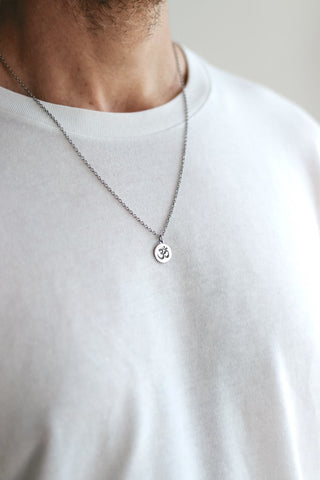 Silver Om necklace for men, stainless steel chain necklace, waterproof