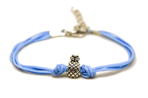Pineapple bracelet, blue cord