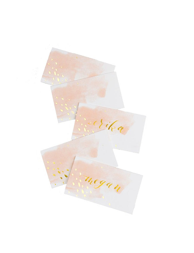 Peach Watercolor Paper Place Cards