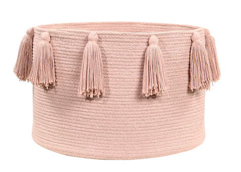 Tassels Soft Blue Cotton Basket