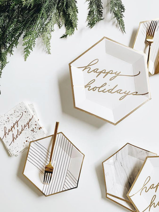White and Gold Happy Holidays Cocktail Paper Napkins