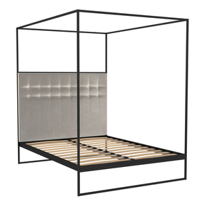 Matt Black King Size Bed Frame with Silver Headboard and Canopy Frame