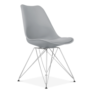 Cool Grey Eiffel Metal Legs Dining Chair