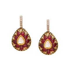 Diamond & Ruby Drop Earrings by Legend Amrapali for Broken English Jewelry