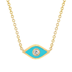 Turquoise Enamel Evil Eye Necklace by EF Collection for Broken English Jewelry