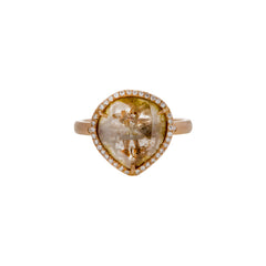 Gold & White Diamond Clear Patterned Diamond Slice Ring by Loriann Stevenson for Broken English Jewelry
